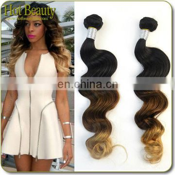 Hot beauty New Two Omber Body weaving Human Virgin Peruvian Hair Wave extension with Wholesale price