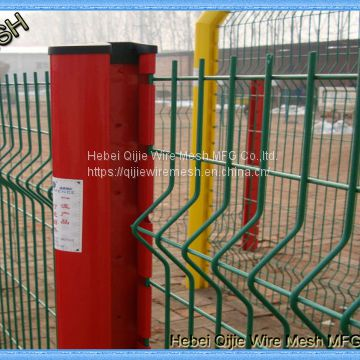 Green Vinyl Coated Decorative Welded Wire Mesh 3D Fence Panels for Playground