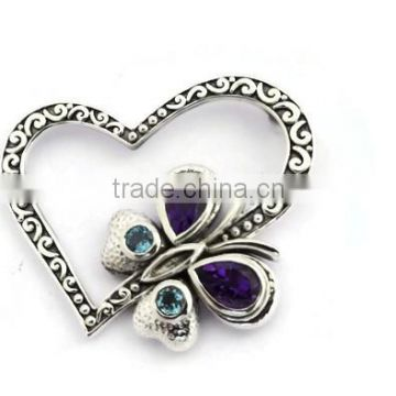 925 sterling silver artistic butterfly amethyst and blue topaz gemstone slide pendant