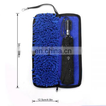 Folding umbrella cover sheath with water-absorbing gloves