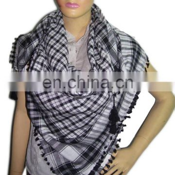 SMALL CHECK DESIGN ARAFAT SCARF WITH TASSEL & FRINGE