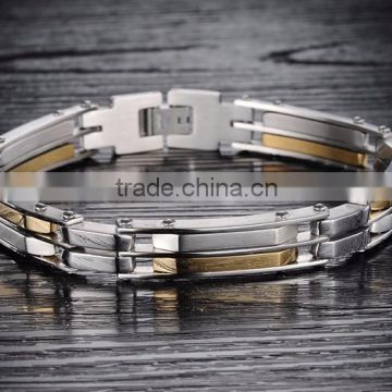 Unisex Men's Plated Gold Biker Stainless Steel Link Chain Bracelet Wrist Cuff Bangle