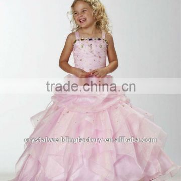 Pink beaded appliqued ruched ball gown flower custom-made girls pageant dresses CWFaf4881