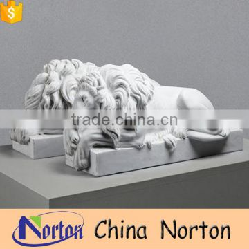 Norton pure white natural marble pairs sleeping lion with square base NTBM-L003L