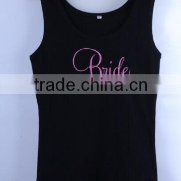 Wholesale sleeveless t shirt fashion womens custom Embroidery tank top manufacturer