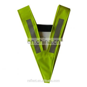 V-neck safety vest fluorescent yellow