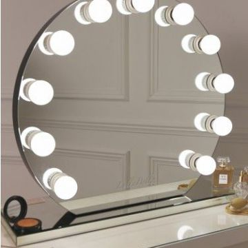 Makeup Round Stand Vanity Hollywood Mirror With Light Bulbs Of