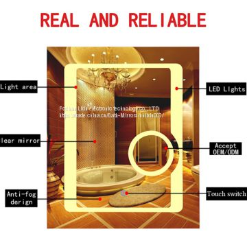 Hotel Bathroom Waterproof Energy Saving Led Fogless Backlit Mirror