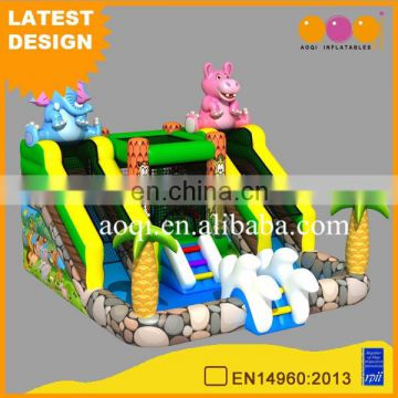 2017 AOQI newest design indoor inflatable floating water park equipment mini safari water park for kid