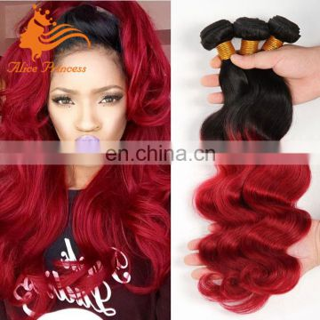 Ombre Red Hair Bundles 1BTBUG Body Wave Light Girl Hair Accessory Virgin Brazilian Hair Wholesales In Brazil
