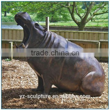 Brass Casting Animal Sculpture Hippo Statue for zoo decoration