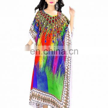 Beautiful 3D Printed Design Picnic Wear Kurta / Evening Wear Long Georgette Kaftan (kaftan dress)