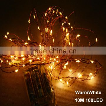 10m 33ft 100 led 3aa battery powered outdoor led copper wire string lights for christmas festival