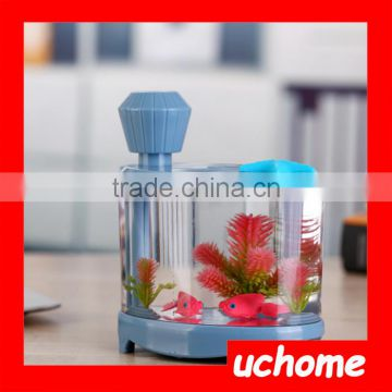UCHOME Ultrasonic Air Purifier Mini USB Electric Fish Tank LED Light Humidifier for Household Use