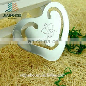 Jiabo custom hollow heart-shaped blank metal bookmark with flower for gifts