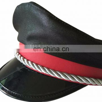 thick strap kids military peaked cap with PU cap band