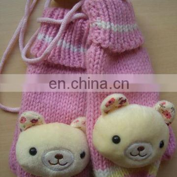 girls knitted gloves with animal head