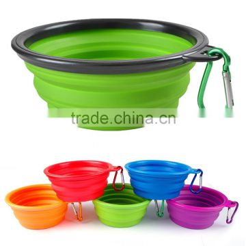 Collapsible silicone pet food travel water bowl