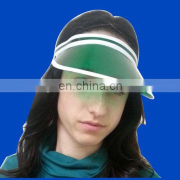 Plastic pvc sun visor with custom imprint for sales promotion
