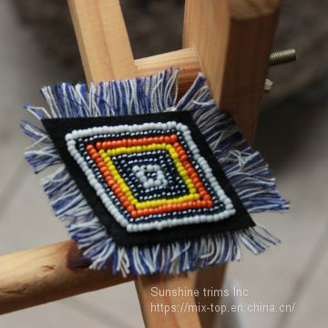 Fashion beaded diamond with fringes decorated, beautiful  Beaded patches for bags,shoes, apparels,high quality handmade