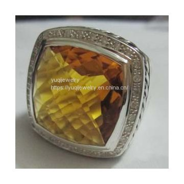 Sterling Silver Jewelry 20mm Albion Ring with Citrine And CZ's(R-211)