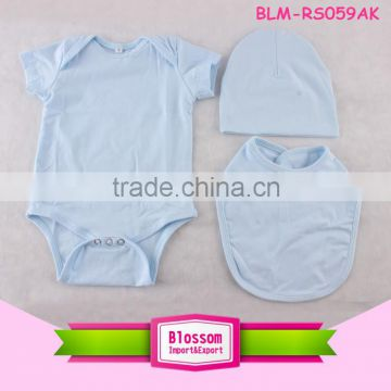 Hot sale Organic cotton baby clothes short infant blank clothing plain soft baby romper with bibs and hats                                                                         Quality Choice