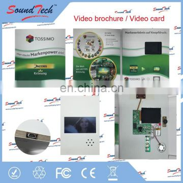 7 inch video greeting card, lcd video in print, invitation lcd video greeting card