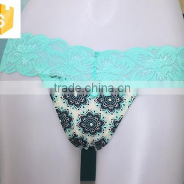 Sexy Lace Thong, Microfiber Printed Body, Girls' Sexy Underwear