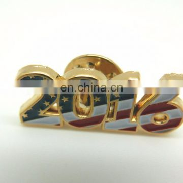2017 hot sale Factory Price Logo America Style Badge Pin Soft enamel colors Gold Plated Lapel Pin