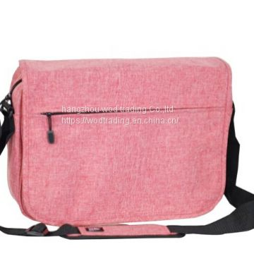 polyester messenger bag with many pockets and long shoulder