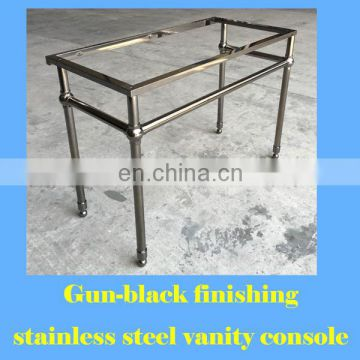 gun black stainless steel bathroom vanity stand for Carrara white marble top