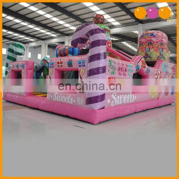 Cheap price indoor playground Inflatable candy land fun city with slide