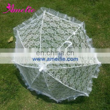 New White Frame Lace Wedding Umbrella