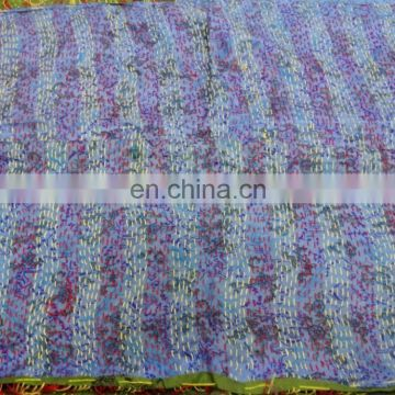 Indian Handmade Kantha Work Silk Stole Long Dupatta Scarf Vintage Reversible