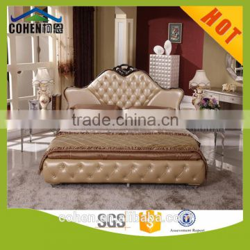 generous hotel decoration top grain leather double bed set for bedroom furniture