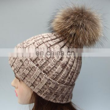 Knitted winter real fur pom beanie bobble hat with large fur pom pom