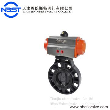 2inch Plastic PVC Wafer Pneumatic Butterfly valve