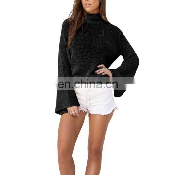 Latest Fashion Turtleneck Knitted Design Loose T Shirt For Women Casual