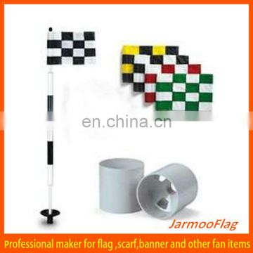 checkered golf flags and cups