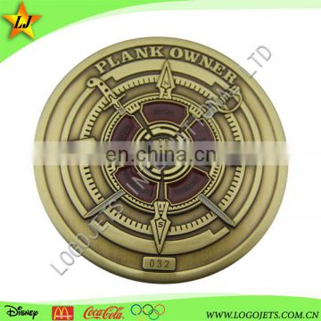 High quality antique gold plating 3d design challenge coin