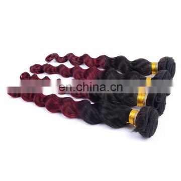 hot sale loose wave human hair extension ombre color 1b/99J remy weave