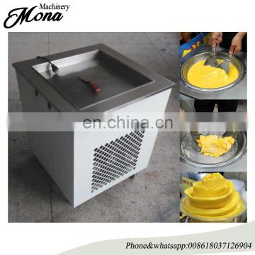 Single Flat Pan Ice Cream Fryer with Barrel/Ice Cream Fry Machine Price