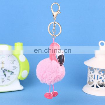 flamingo leather pom pom artificial fur keychain for backpack