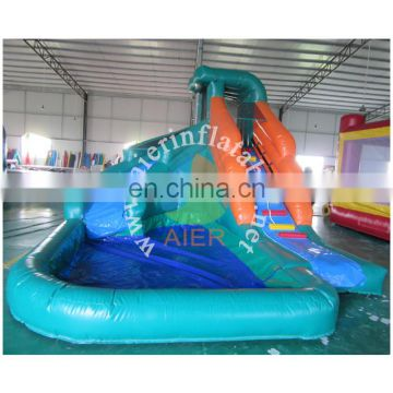 Mini inflatable water slide with swimming pool