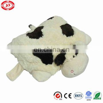 Cow pure white pet 2in1 cute fancy soft plush cotton stuffed pillow and cushion