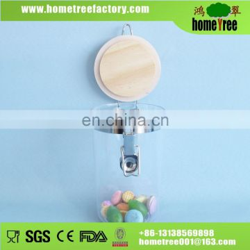 Tall Plastic AS PS Round Airtight Food Container with wooden lid