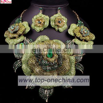 Handmade flower design jewelry set for lady\gold plated necklace for wedding \Lady fashion earings set