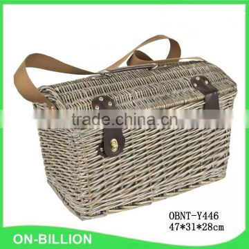 Grey color 4 persons usage natural willow picnic basket with belt