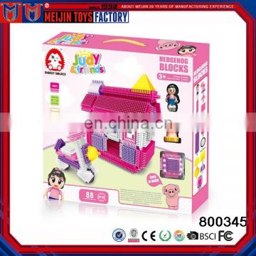 hedgehog building block set house with girl toy 88pcs