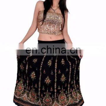 Skirts Wrap Tribal Peasant Sequin Gypsy Indian handwork Rayon Skirt Boho Hippie Casual Sequin Work Long Embroidered women Black